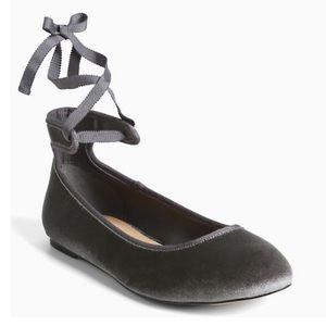 Torrid Velvet Ankle Wrap Ballet Flats Gray 10 W